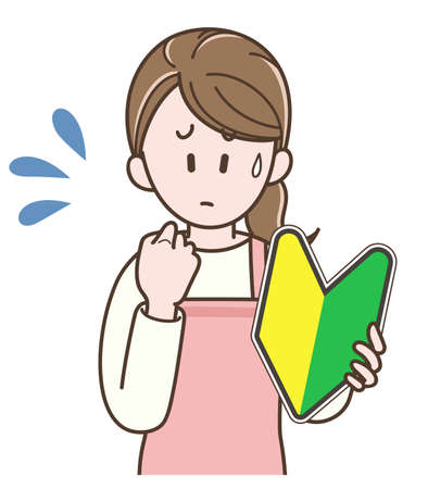 Housewife in an apron holding the beginner mark
