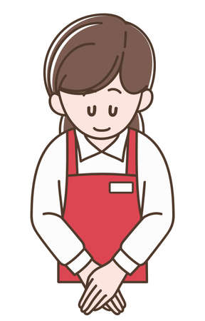 A woman in red apron bowing