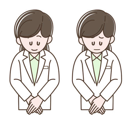 Illustration of the woman in a white coat bowing (Vector illustration set)