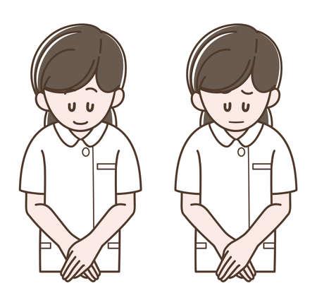 Illustration of the nurse bowing (Vector illustration set)
