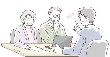Illustration of a businessman explaining to a elderly couple