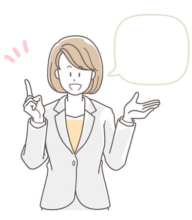 Illustration of a woman in a suit explaining something