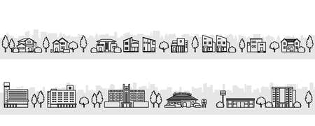 Illustration of townscapes with modern houses (monochrome)