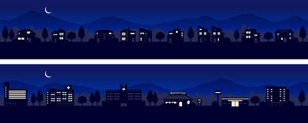 Silhouette of the townscapes with a view of the hills (night)