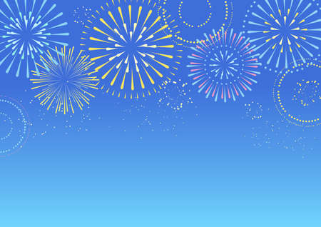 Background illustration of fireworks in the blue sky Vector Illustratie