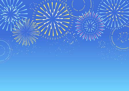 Background illustration of fireworks in the blue sky Vetores