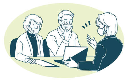 Illustration of a elderly couple and a sales woman wearing a mask and having business talks