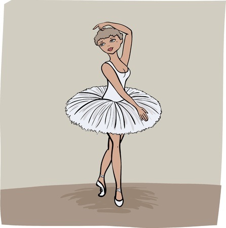 illustration young girl performing on stage at ballet show or dancing schoool in white dress standing on her toes