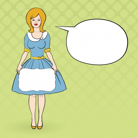 retro housewife: illustration of a woman dressd like 50 s Illustration