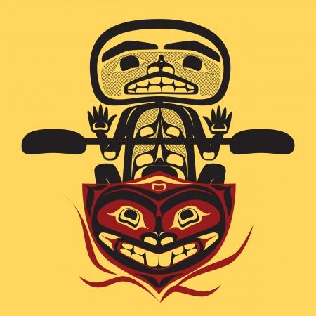 pirag�ismo: noroeste americano nativo pescador