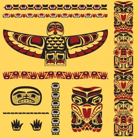 Canadienses elementos de arte nativo Ilustración de vector