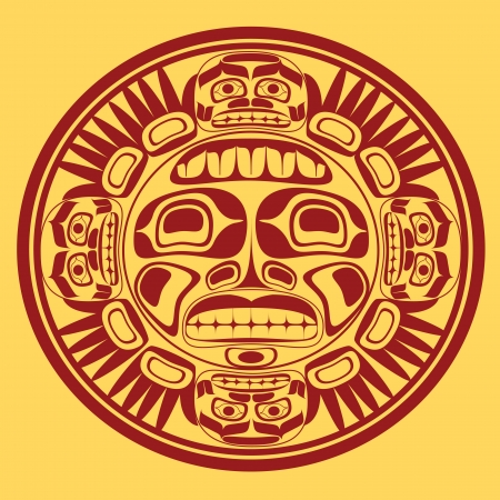 totem: sun symbol, stylization of northwest art