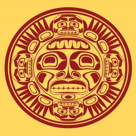 totem indien: symbole du soleil, la stylisation de l'art nord-ouest