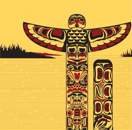 native american art: Illustration of a north American totem pole