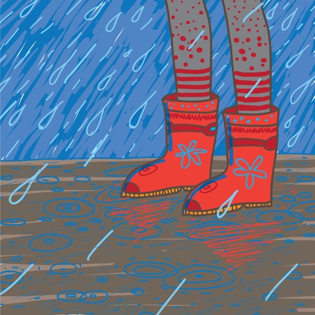 illustration of heavy rain, rubber boots Vector