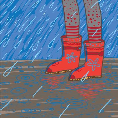wellies: illustration of heavy rain, rubber boots
