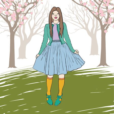 shy woman: illustration of a young girl standing