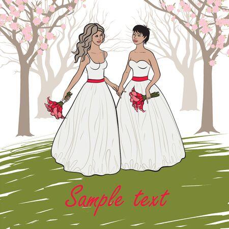 happy couple: homosexual wedding Illustration