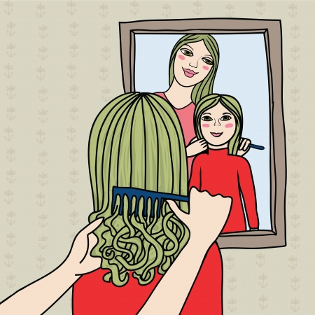 single parent: mother and doughter, sisters brushing hair