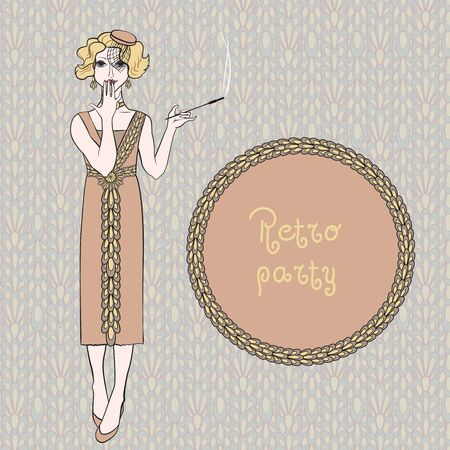 woman smoking: retro woman smoking cigarette, vector illustration Illustration