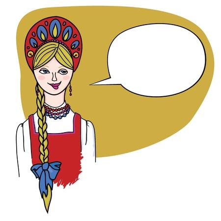 Fair haired blonde girl in Russian folk dress