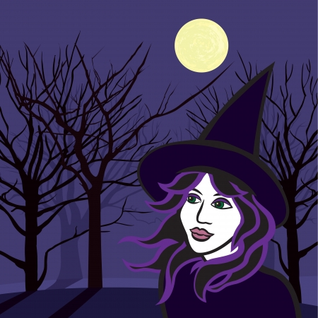 witch with ghosts, halloween vector illustration  Vector