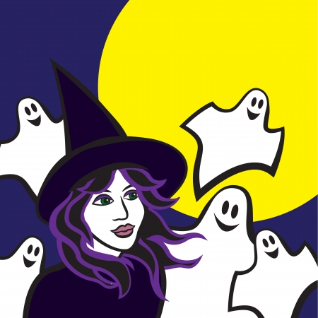 witch in woods, halloween Vector