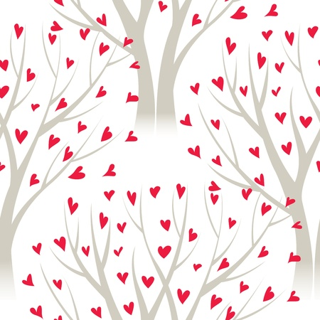 trees with heart leaves, seamless pattern Stock Vector - 16922191