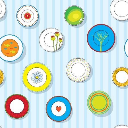 plates on the wall, seamless pattern Vector