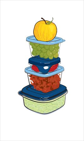 lunch box: plastic containers with food, illustration