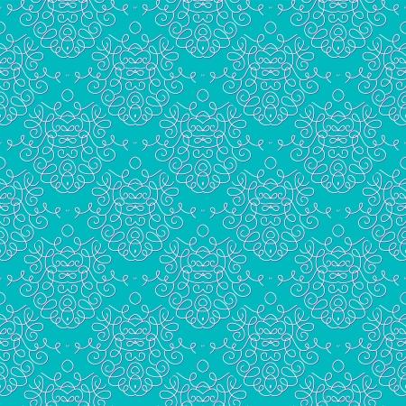 vintage damask seamless pattern with swooshes, wedding invitation background Ilustração