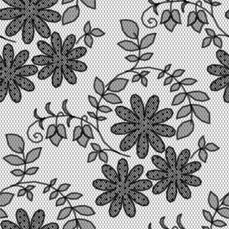 black lace pattern, flowers on white background Vector