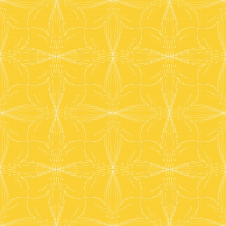 vintage pattern design with delicate calligraphic lines and flowers in bright yellow color, seamless background Stock Photo - 17112782