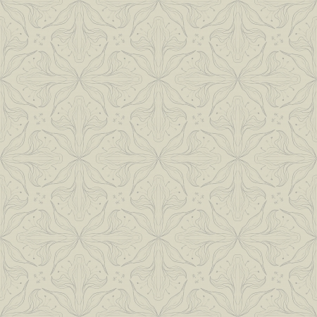 vintage floral pattern design with delicate calligraphic lines and flowers in beige  color, seamless background Vector
