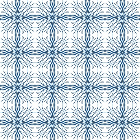 white and blue pattern imitating Mediterranean ceramic tiles design  drawn with thick and thin lines, seamless pattern background