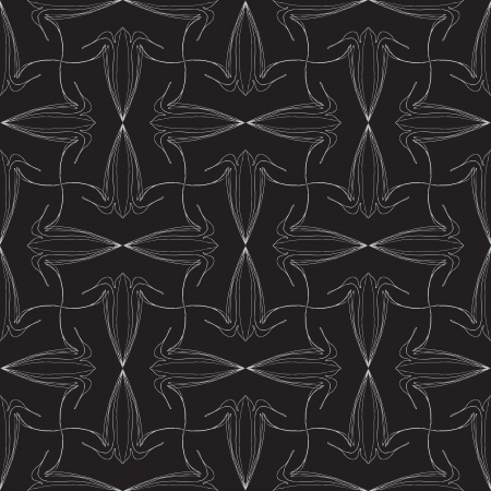 textile image: elegant vintage vector pattern design with delicate calligraphic lines and flowers in black, seamless background