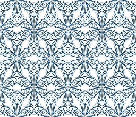 60's: old vintage fabric, or textile; it is a seamless pattern background made with flowers and stars,  very retro like 70 s or 60 s