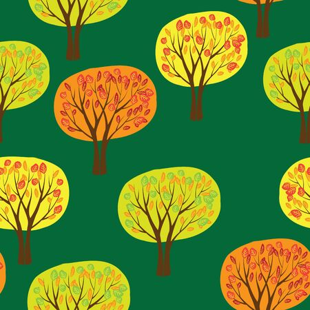 autumn forrest seamless pattern with trees