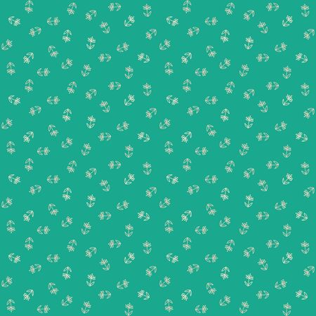 textile image: vector seamless pattern with little white flowers on green field, vintage wallpaper or retro textile
