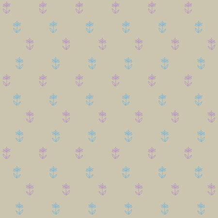 60s: seamless pattern of little blue flowers on brown field, vintage wallpaper, seamless texture or retro textile
