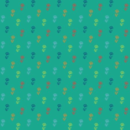 pattern, little colorful flowers on green Vector