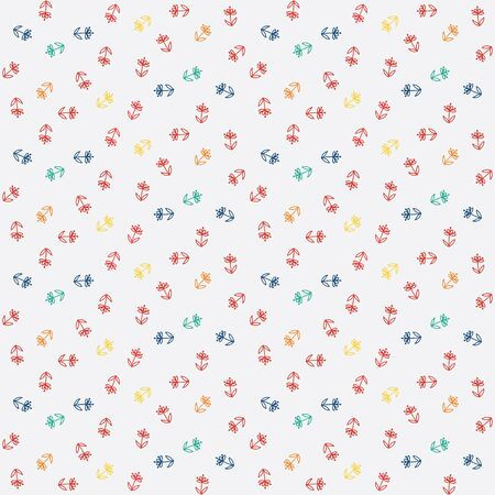 pattern, little colorful flowers on white