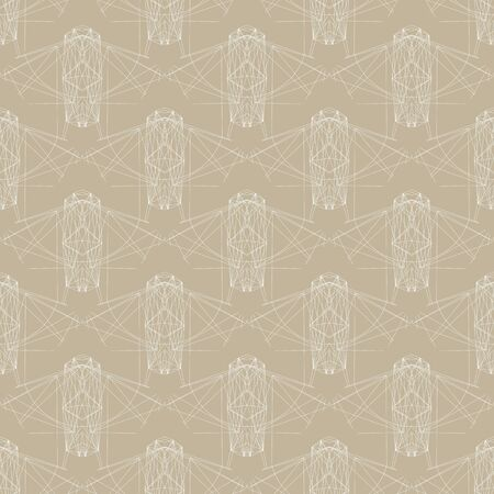 seamless background with graphic forms remaining of spaceships or flying geometrical bugs, retro pattern from 70s or 80s Vector