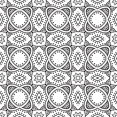 graphic floral detailed seamless pattern Vectores