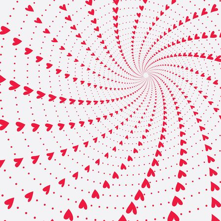 funnnel of twisting and spinning rotating hearts of varied size,  valentines background