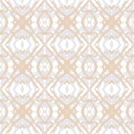 golden ink shapes on silver, seamless pattern Vector