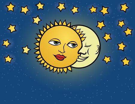 day and night: moon sun, illustration