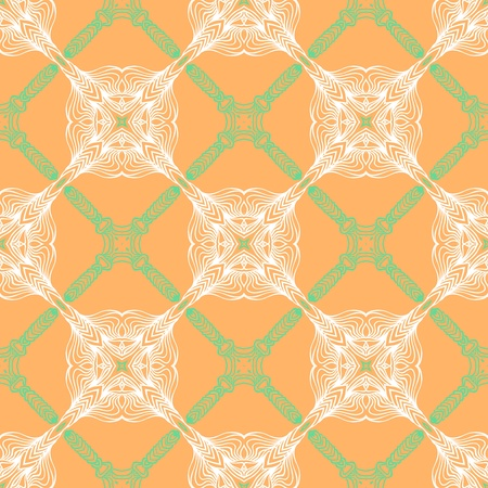 orange floral pattern with renaissance motifs Illustration