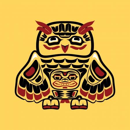 North american native art, owl 일러스트