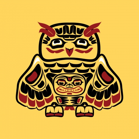 North american native art, owl 向量圖像
